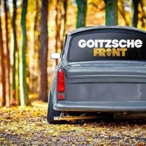 "Aufkleber weiß-gold""Goitzsche Front"" 80x20,5cm"