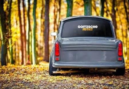 "Aufkleber weiß-gold ""Goitzsche Front"" 30x7,5cm"