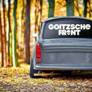 "Aufkleber weiß ""Goitzsche Front"" 80x20,5cm"
