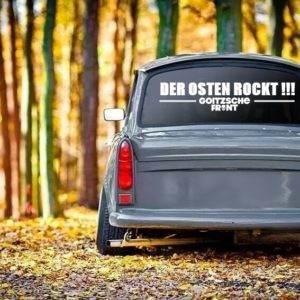 """Aufkleber weiß """"Der Osten rockt"""" 77x17cm"""